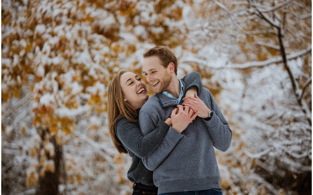Katelyn + Michael's Snowy Montrose Harbor Engagement Session